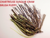 Brush Puppy Jigs - Chartreuse GP - Chart Susquie Craw
