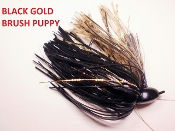 Brush Puppy Jigs - Black - Black Gold