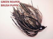 Brush Puppy Jigs - Black - Green Reaper