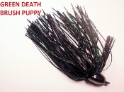 Brush Puppy Jigs - Black - Green Death
